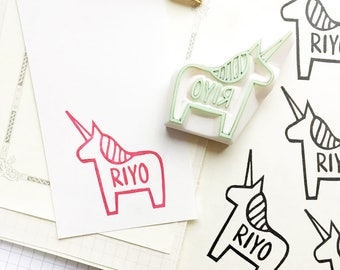 custom name stamp | personalized unicorn rubber stamp | diy birthday baby shower | gift for girls | hand carved by talktothesun