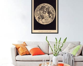 "Vintage moon art print, poster of the moon,large wall art, home decor, large art print up to 30"" x 42"" - 056"