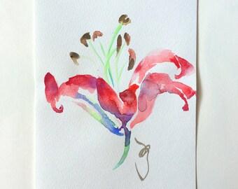 art painting, Watercolor painting, flower art, lily art, Watercolor lily, Japanese art, watercolor mini art, mini painting, brash art,