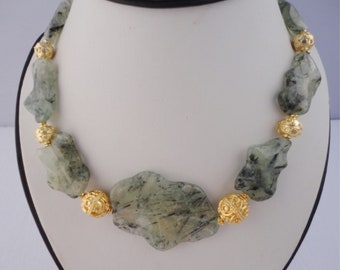 bold necklace, stone statement necklace gold, chunky beaded necklace, vermeil necklace, bib necklace gold, prehnite necklaces, mothers gift