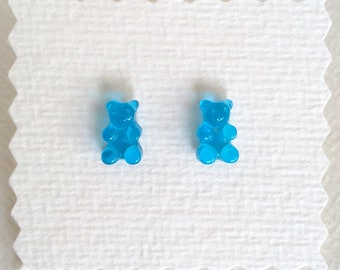 Teeny Tiny Gummy Bear Earrings - Blue - Transparent - Gummi Bear - Kawaii - Fake Candy