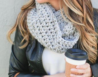 Crochet Pattern Chunky Infinity Scarf Circle Scarf Loop Scarf Chunky Scarf Winter Scarf Gift for Her *The Charlotte* in [Greystone]