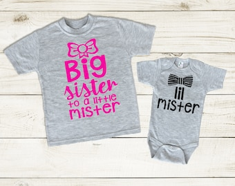 Big Sister Little Mister Shirts, Sibling Outfits, Big sister to a little mister, Lil mister Shirt, Sibling outfit Set