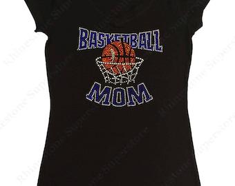 "Women's Rhinestone T-Shirt "" Blue Basketball Mom with Net "" in S, M, L, XL, 2X, 3X"