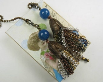 Chain Pull Pair with Tassle and Gemstone Bead Accent