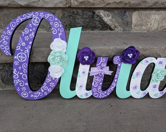 Custom Kids Name Sign - Nursery Wall Letters Name Sign - Wood Wall Letters Large Cursive Style - Chevron and Flower Name Sign