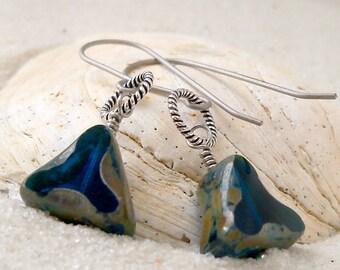 Titanium Earrings - Hypoallergenic - Pure Titanium - Dangle Earrings - Beaded Earrings - Gift for Her - Capri Blue Earrings - Bead Jewelry