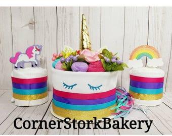Unicorn Diaper Cake| Unicorn Baby Gift| Unicorn Baby Shower| Girl's Diaper Cake| Girl's Baby Gift| Baby Gift| Centerpiece| Baby Shower Cake