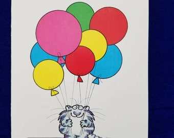 Sandra Boynton Secretary's Day cat card vintage 1980s greeting signature kitty with balloons Administrative Professionals day card
