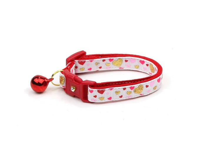 Valentines Day Cat Collar - Raining Hearts on White - Kitten or Large Size