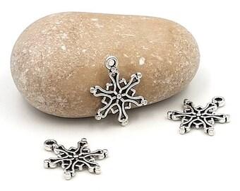 50 silver snowflake charms 19x15mm matte