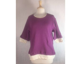 Bi Layer Top  - Beet  Waffle Thermal  Medium  Ready to Ship by Blue Fish Red Moon Clothing Winter Warmth