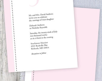 Mr & Mrs Pink Printable Wedding Invitation and RSVP