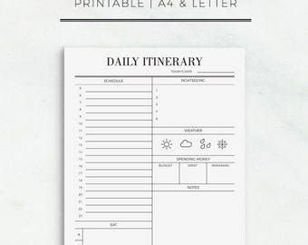 Travel Itinerary Printable | Printable Travel Schedule | Vacation Day Planner | Travel Planning Printable