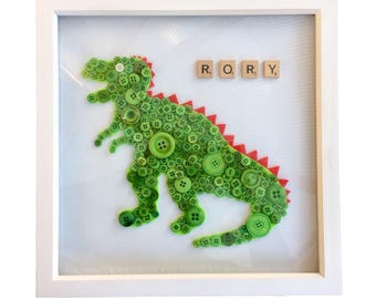 Framed  Personalized dinosaur button picture