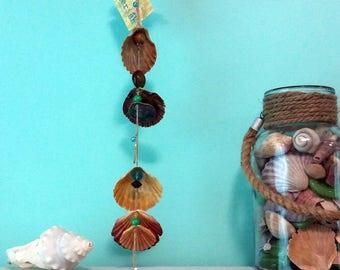 Beach decor. Driftwood, seashell, bead wall hanging, wind chime, home decor.