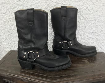 1990s 90s Vintage Black Motorcycle Biker Boots w Harness / Women's Solid Black Leather Western Cowgirl Mid Calf Boots Shoes / 6.5 US Womens