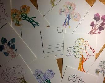 Watercolor Flower Postcards
