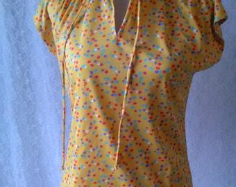 Vintage Yellow Floral Blouse Rhoda Lee M L