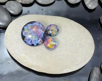 Night Bloom Set - Lampwork Glass Cabochon - 17mm - Jewelry Making Supply