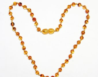Honey - bright cognac color round beads Baltic amber teething necklace for your baby 17v