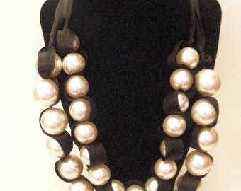 Vintage Faux Pearl and Ribbon 2 Strand Necklace