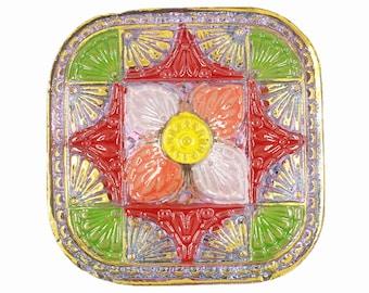 Czech Glass Button - Hand Painted Mosaic Blossom Square Czech Glass Button, 1.30 inch , Shank Button