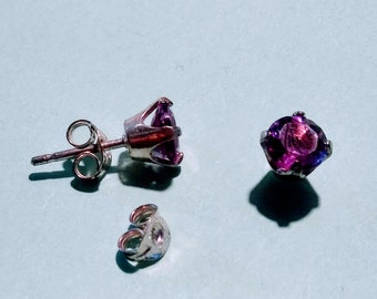 Amethyst Stud earrings, GRADE A Select 6mm in Sterling silver.