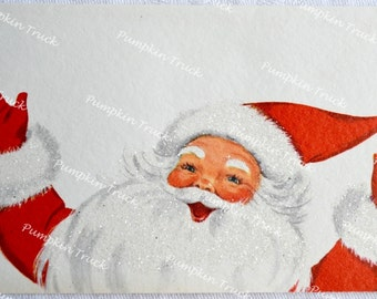 Vintage Christmas Card - Glitter Santa Claus With Arms Raised - Used