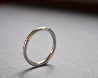 Women's High Shine 2mm Sterling Silver Wedding Band. Round. Gloss. Handmade in Your Size. Custom. Eco Sterling Silver.