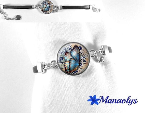 Black leather, 270 blue butterfly glass cabochon bracelet
