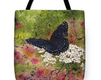 Mother's Day Gift Idea Watercolor Batik Blue Black Butterfly Queen Annes Lace Tote Purse Bag