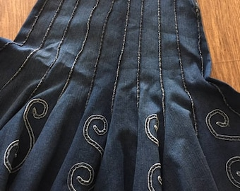 Vintage PARIS flared JEAN SKIRT denim