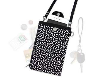 Dog Bone Crossbody Phone Wallet Hip Bag Travel ID Wallet Vacation Wallet Passport Wallet Adjustable Straps iPhone Samsung