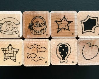 8pc Telephone, Balloon, Basket, Star   - Tall Blocks Wooden Rubber Stamp - Stamping - Embossing - Card Making