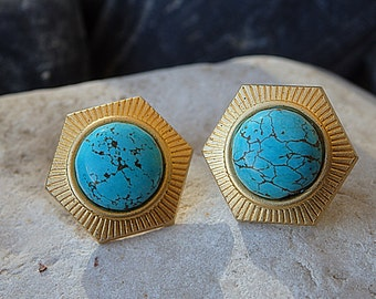 Gold and Turquoise Earrings Stud,Genuine Turquoise Jewelry,  Gemstone earrings.Stud turquoise earrings.Classic earrings.Geometric earrings