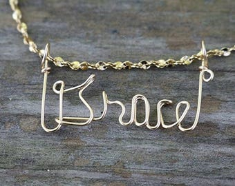 Grace Name Necklace, Handcrafted Cursive Name in Script, Gold or Silver, Personalized Name Your Choice, Custom Name Necklace, Wire Wrap