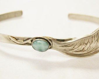 Larimar Maple Seed Cuff Bracelet, cuff bracelet, sterling silver bracelet, gemstone cuff bracelet
