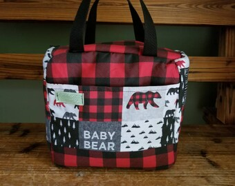Monogrammed Beach Bag Womens Personalized Insulated Backpack Cooler Navy Plaid Cooler Lunch Bag