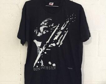 Vintage Ben Webster Jazz Age Lee Tanner Photo T Shirt RARE! Black L