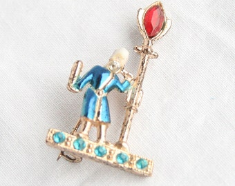 1940s Vintage Colonial Man Streetlight Brooch Vintage Figural 1940s Enamel Lamppost Rhinestones Pin