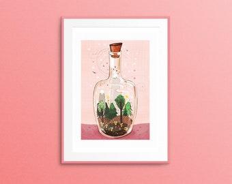 Beautiful terrarium print, A3 terrarium print, Giclee print, forest in a bottle, wall Art, home decor Art print, special edition terrarium