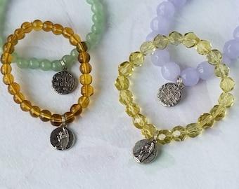 "Catholic Jewelry Praying Angel Charm Bracelet Latin ""Gott mit dir"" Small size First Communion Gift, Baptism, Birthday Bracelet Gift"