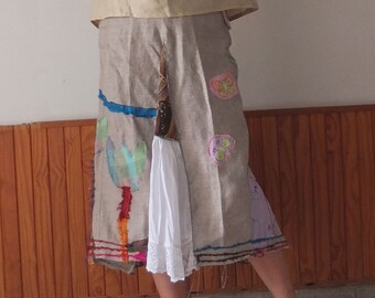 Patchwork skirt - upcycled fabrics - Natural Linen - Funky Fantasy Skirt - Boho skirt - by Resplendent Rags