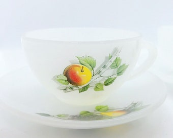 Set of 2 cups and saucer fruit pattern - arcopal France
