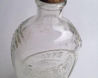 Vintage Log Cabin Syrup Glass Bottle with screw top 1776 revolution  ~ Pink Room ~ 161224