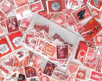 Red & burgundy stamp packet, vintage + more recent, used world postage stamps for crafting, collage, upcycling or collecting - all off paper