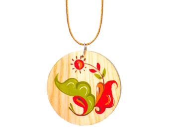 Pendant-Necklace-Singular jewelry-Painting on wood-Gift for here-Made for her-Hand-painted-Original painting-Russian style Active