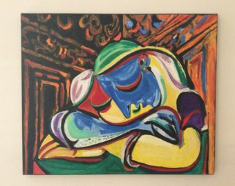 """Picasso """"sleeping girl"""" oil painting reproduction by Kiki Papadatou size:50x60cm canvas"""
