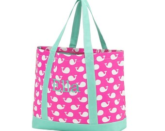Monogrammed Whale Tote Bag